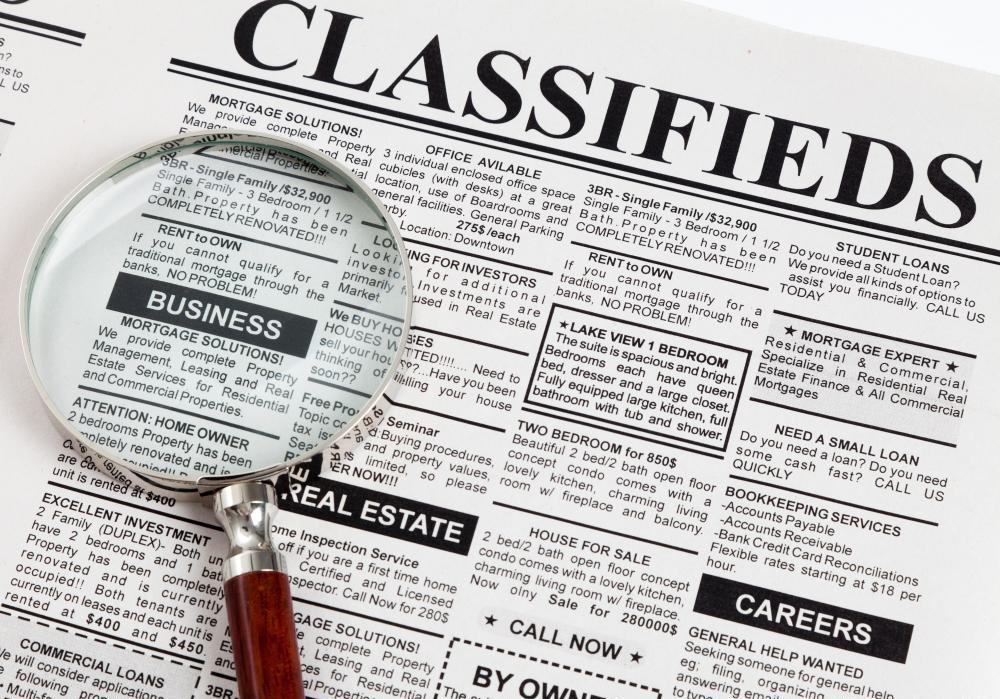 Newspaper classified advertising